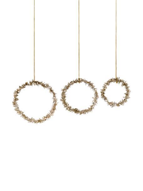 Deko-Anhänger-Set Laurel, 3-tlg., Styropor, Kunststoff, Metall, Holz, Goldfarben, Set mit verschiedenen Grössen