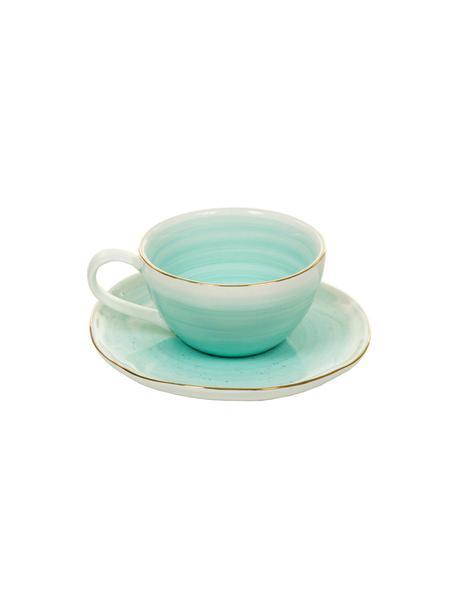 Handgemaakte espresso kopjes met schoteltjes Bella met goudkleurige rand, 2 stuks, Porselein, Turquoiseblauw, Ø 9 x H 5 cm