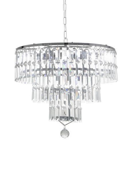 Kronleuchter Empire aus Glas, Lampenschirm: Glas, Baldachin: Stahl, verchromt, Chrom, Transparent, Ø 48 x H 43 cm