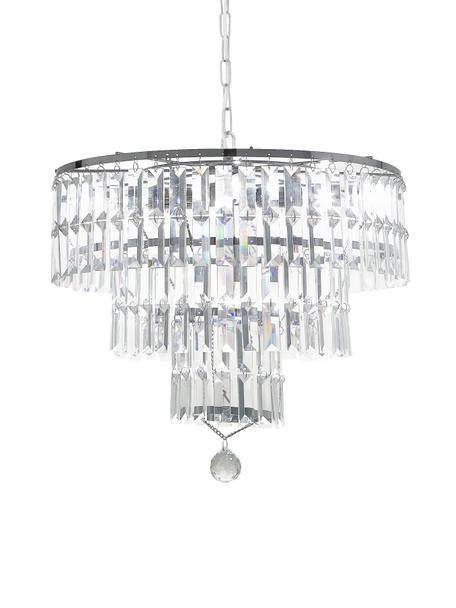 Kronleuchter Empire aus Glas, Lampenschirm: Glas, Baldachin: Stahl, verchromt, Chrom, Transparent, Ø 48 cm x H 43 cm