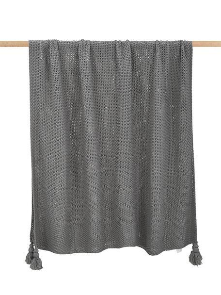 Manta de punto con borlas Lisette, Poliacrílico, Gris, An 130 x L 170 cm