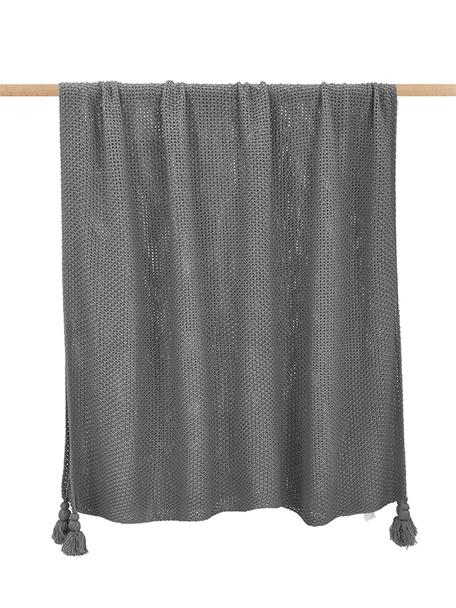 Strick-Plaid Lisette mit Quasten, 100% Polyacryl, Grau, 130 x 170 cm