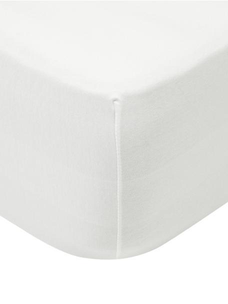 Sábana bajera para cubrecolchón de jersey con elastano Lara, 95%algodón, 5%elastano, Crema, Cama 90 cm (90-100 x 200 cm)