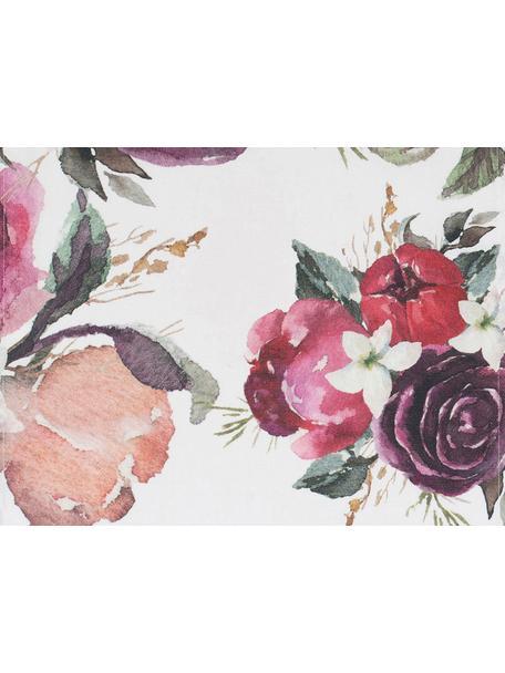 Katoenen placemats Florisia met bloemmotief, 2 stuks, Katoen, Roze, wit, 38 x 50 cm