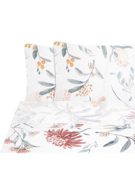 Set lenzuola in raso di cotone Evie, Tessuto: raso Densità del filo 210, Stampa floreale, bianco, 240 x 300 cm + 2 cuscini 50 x 80 cm