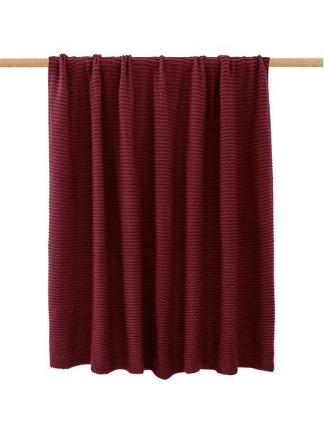 Plaid a maglia rosso scuro Adalyn, 100% cotone, Malva, Larg. 150 x Lung. 200 cm