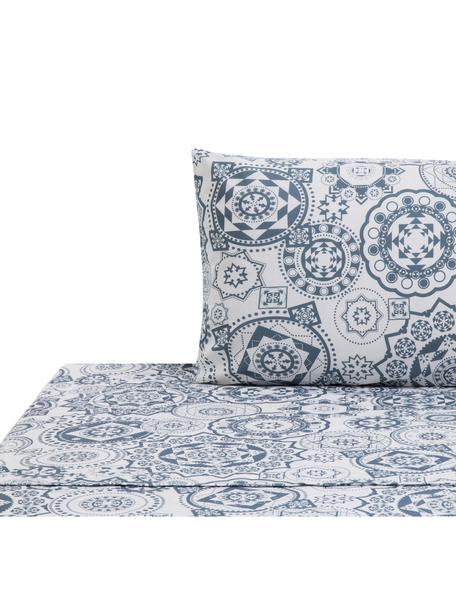 Set lenzuola in cotone Morris, Cotone, Fronte: blu, bianco Retro: bianco, 160 x 270 cm