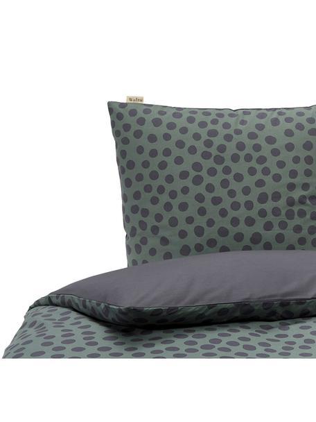 Baumwoll-Bettwäsche Spots and Dots, Webart: Renforcé Renforcé besteht, Dunkelgrün, Schwarz, 135 x 200 cm + 1 Kissen 80 x 80 cm