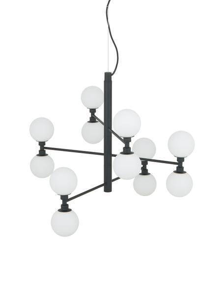 Grosse Pendelleuchte Grover mit Glaskugeln, Baldachin: Metall, pulverbeschichtet, Schwarz, Weiss, Ø 70 cm x H 56 cm