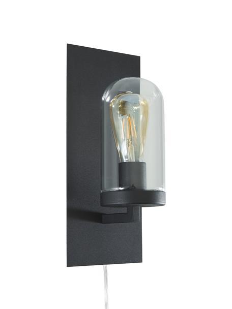 Wandlamp James met stekker, Lampenkap: glas, Frame: Gelakt messing, Zwart, 15 x 35 cm