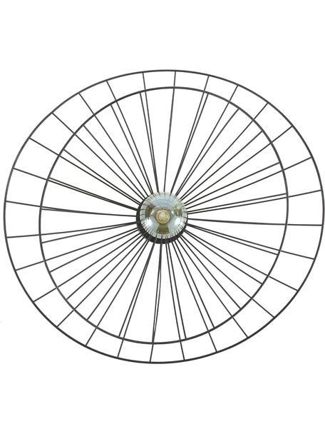 Aplique / Plafón Ray, con enchufe, Pantalla: metal, Fijación: metal, Cable: plástico, Negro, Ø 60 x Al 20 cm