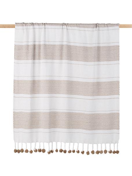Baumwolldecke Pom Pom mit Streifendesign in Weiß/Taupe, 100% Baumwolle, Gebrochenes Weiß, Taupe, 130 x 170 cm