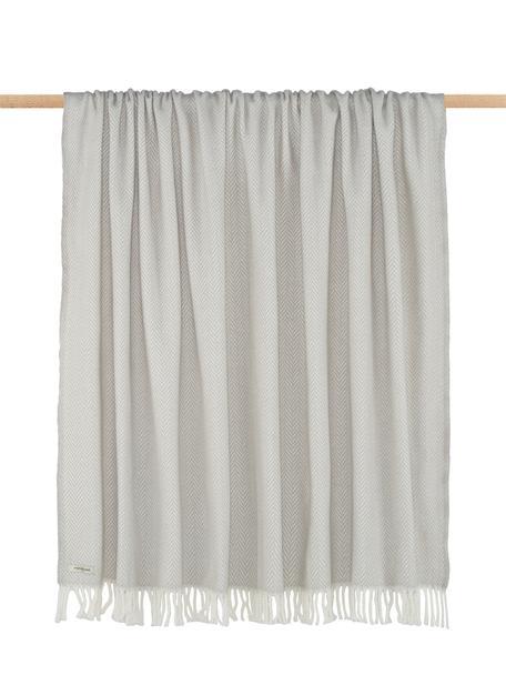 Manta con flecos Skyline, 50%algodón, 50%acrílico, Gris claro, blanco crudo, An 140 x L 180 cm