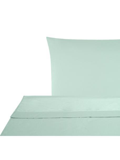Set lenzuola in raso di cotone Comfort, Tessuto: raso Densità del filo 250, Verde salvia, 150 x 300 cm