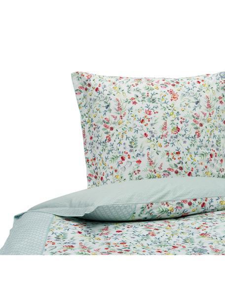 Baumwollperkal-Wendebettwäsche Midnight Garden mit dekorativen Schleifen, floral/gemustert, Webart: Perkal Fadendichte 200 TC, Weiß, Mintgrün, Mehrfarbig, 135 x 200 cm + 1 Kissen 80 x 80 cm