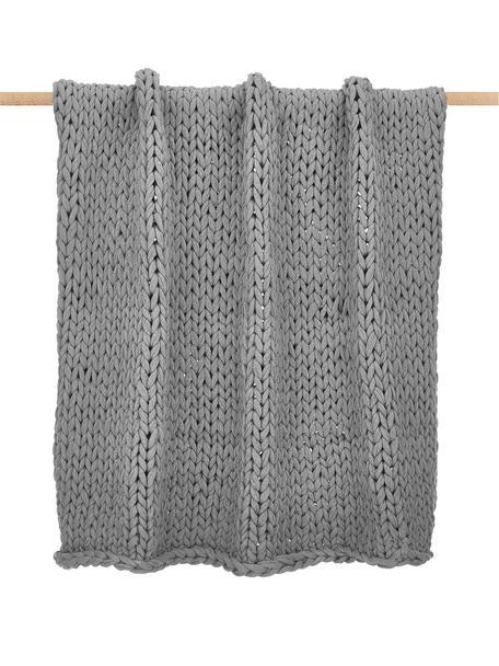 Plaid a maglia grossa grigio chiaro Adyna, 100% poliacrilico, Grigio chiaro, Larg. 130 x Lung. 170 cm