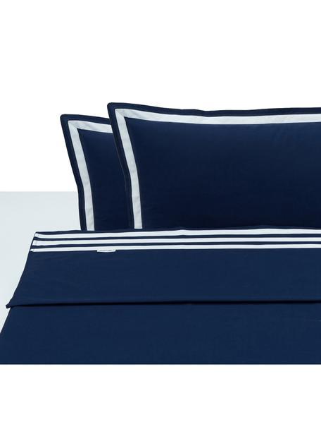Set lenzuola in cotone Hilton, Cotone, Blu,bianco, 250 x 290 cm