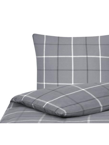 Flanell-Bettwäsche Rafa, kariert, Webart: Flanell Flanell ist ein s, Grau, 135 x 200 cm + 1 Kissen 80 x 80 cm
