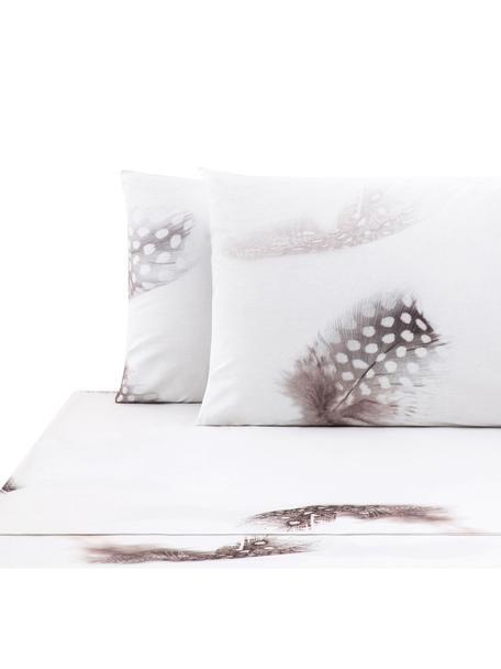 Set lenzuola in cotone ranforce Light, Tessuto: ranforce, Bianco, marrone, grigio, 240 x 270 cm