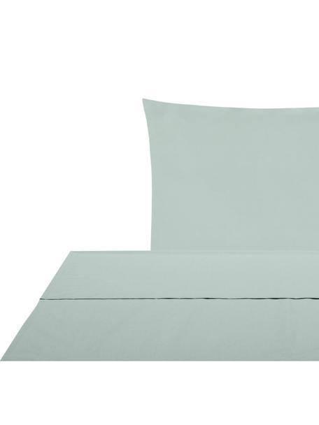 Set lenzuola in percalle verde salvia Elsie, Verde salvia, 150 x 300 cm + 1 cuscino 50 x 80 cm