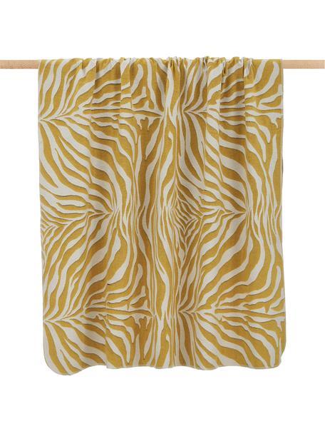 Plaid giallo/bianco con stampa zebra Sana, Giallo senape, bianco, Larg. 140 x Lung. 180 cm