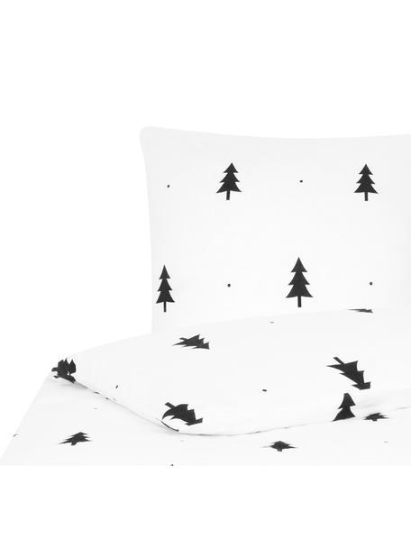 Flanell-Bettwäsche X-mas Tree mit Tannenbäumen, Webart: Flanell Flanell ist ein s, Weiss, Schwarz, 135 x 200 cm + 1 Kissen 80 x 80 cm