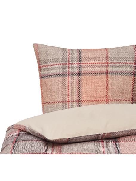 Karierte Flanell-Bettwäsche Beau in Rosa, Webart: Flanell Fadendichte 144 T, Creme, Grau, Rosa, 135 x 200 cm + 1 Kissen 80 x 80 cm