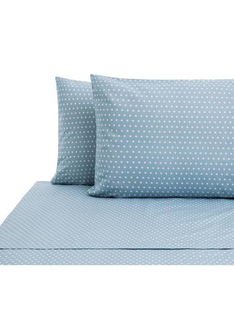 Set lenzuola in cotone Perun, Cotone, Blu, bianco, 240 x 270 cm