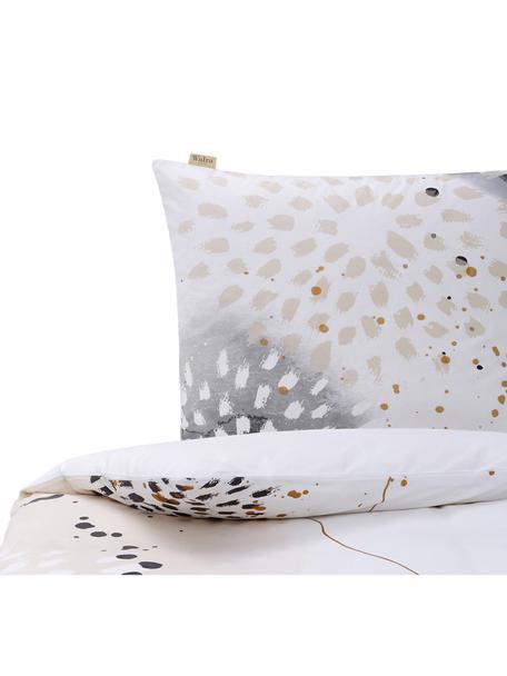 Baumwoll-Bettwäsche Golden Canvas mit Aquarell-Print, Webart: Renforcé Renforcé besteht, Weiß, Grau, Beige, Goldfarben, 135 x 200 cm + 1 Kissen 80 x 80 cm
