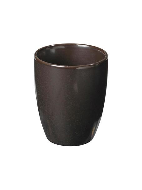 Handgemachte Espressobecher Esrum Night, 4 Stück, Steingut, glasiert, Graubraun, matt silbrig schimmernd, Ø 7 x H 8 cm