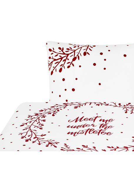 Flanell-Bettwäsche Mistletoe in Weiss/Rot, Webart: Flanell Flanell ist ein s, Weiss, Rot, 135 x 200 cm + 1 Kissen 80 x 80 cm