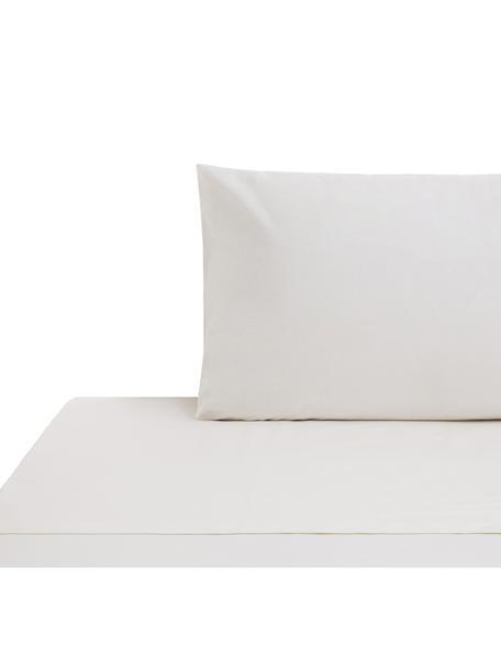 Set lenzuola in cotone ranforce Lenare, Tessuto: ranforce, Fronte e retro: avorio chiaro, 150 x 290 cm