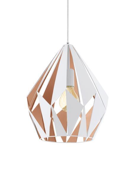 Skandi-Pendelleuchte Carlton, Stahl, lackiert, Außen: Weiß Innen: Roségoldfarben, Ø 31 x H 40 cm