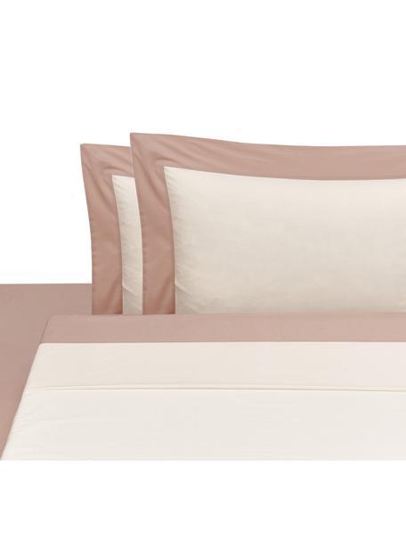 Set lenzuola in percalle Plein, Rosa, bianco latteo, 260 x 295 cm
