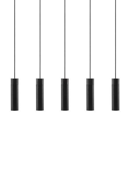 Lámpara de techo grande con detalles en madera Tilo, Pantalla: metal recubierto, Anclaje: metal recubierto, Cable: cubierto en tela, Negro, An 81 x Al 25 cm