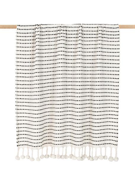 Plaid a righe con pompon Molly, 100% cotone, Nero, beige, Larg. 130 x Lung. 170 cm