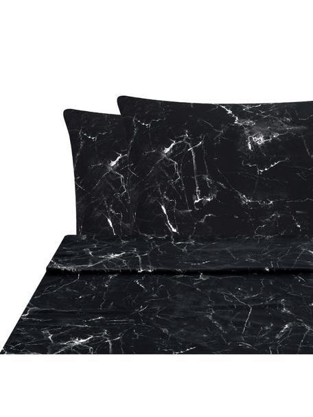 Set lenzuola reversibile Malin, Tessuto: percalle Densità del filo, Nero, bianco, 240 x 300 cm