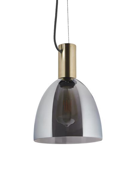 Lmpara de techo Lebalio, Pantalla: vidrio ahumado, Anclaje: metal latón, Cable: cubierto en tela, Gris, Ø 20 cm