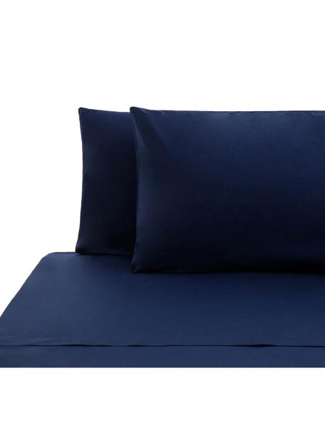 Set lenzuola in cotone ranforce Lenare, Tessuto: Renforcé, Fronte e retro: blu scuro, 240 x 290 cm