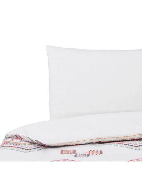 Dubbelzijdig dekbedovertrek Lema, Katoen, Bovenzijde: rozetinten, wit. Onderzijde: wit, 140 x 200 cm
