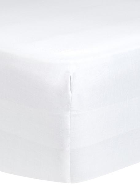 Sábana bajera de satén Comfort, Blanco, Cama 135/140 cm (140 x 200 cm)