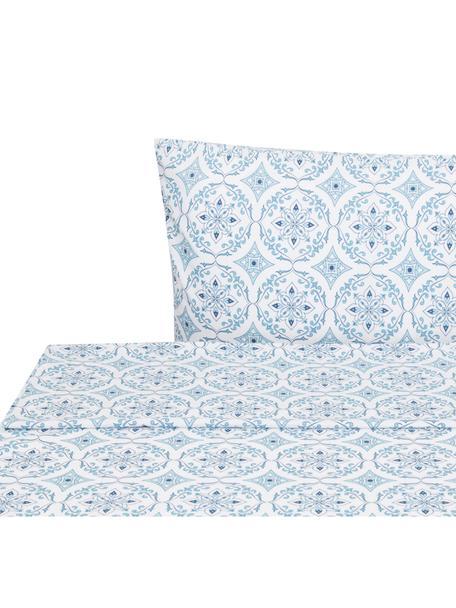 Sábana encimera Crackle , Algodón, Blanco, azul, Cama 90 cm (160 x 270 cm)