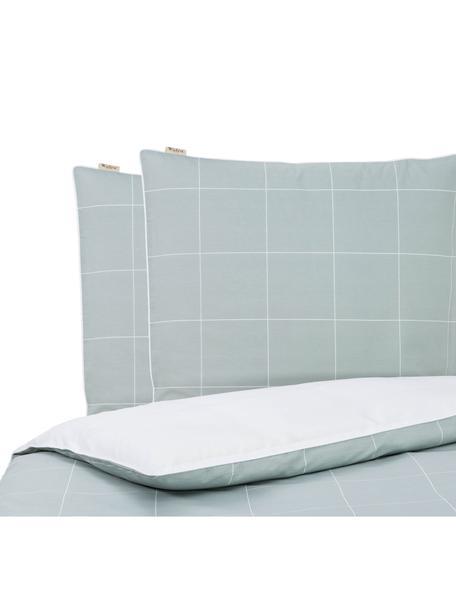 Dubbelzijdig renforcé beddengoed Square Feet, Weeftechniek: renforcé, Bovenzijde: jadegroen, wit, geruit. Onderzijde: wit. Bies: wit, 200 x 220 cm