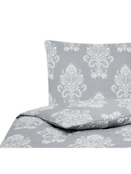 Flanell-Bettwäsche Sissi, gemustert, Webart: Flanell Flanell ist ein k, Grau, Weiß, 135 x 200 cm + 1 Kissen 80 x 80 cm