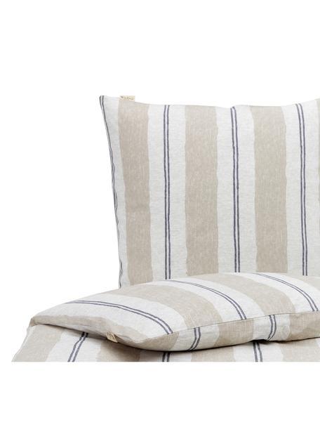 Dekbedovertrek Nautic Stripes, Weeftechniek: renforcé Draaddichtheid 1, Zandkleurig, beige, donkerblauw, 140 x 220 cm + 1 kussen 60 x 70 cm