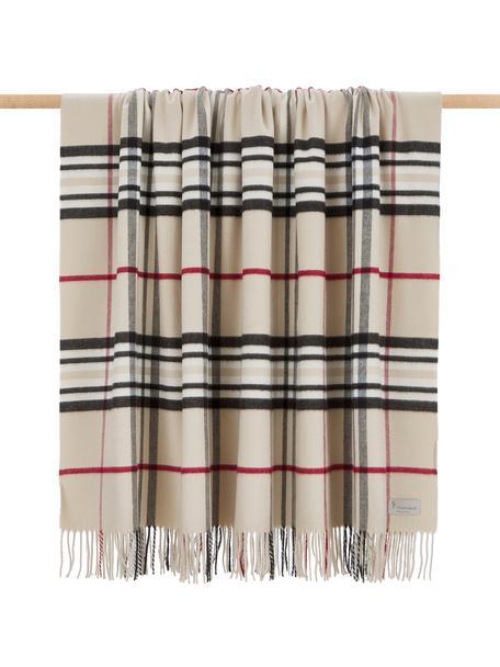 Plaid scozzese Classy Side, 100% poliacrilico, Beige, crema, rosso, nero, Larg. 130 x Lung. 170 cm