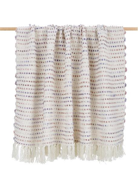 Plaid in cotone con frange e struttura alto-bassa Kampala, 70% cotone, 30% acrilico, Crema, tonalità rosa, Larg. 130 x Lung. 170 cm