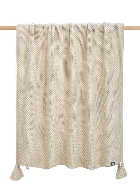 Plaid a maglia con frange Lisette, 100% poliacrilico, Beige, Larg. 130 x Lung. 170 cm