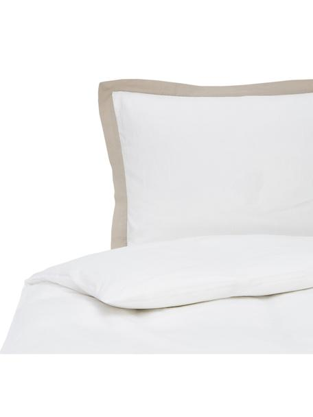 Pościel z lnu z efektem sprania Eleanore, 52% len, 48% bawełna Z efektem stonewash zapewniającym miękkość w dotyku, Biały, beżowy, 135 x 200 cm