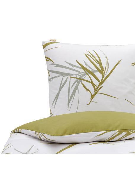 Baumwoll-Bettwäsche Bamboo Grasses mit Grasmotiven, Webart: Renforcé Fadendichte 144 , Gebrochenes Weiß, Grün, Grau, 135 x 200 cm + 1 Kissen 80 x 80 cm